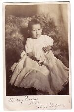 Early 1900s Merry Christmas from Baby Postcard RPPC Fur Blanket Antique Gown Toy