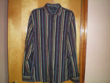 NEW NWT mens size L blue brown striped EXPRESS DESIGN STUDIO modern fit shirt