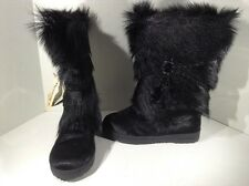 BEARPAW Womens Ashbury Black Fur Mid Calf Winter Boots Shoes Size 9 H1-147