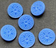 6 Delightful Cornflower Blue Vintage Glass 13mm Buttons