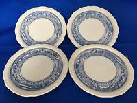 "Syracuse China Liberty Dinner Plates 8 3/8"" Blue White Made USA Restaurant Ware"