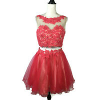 Coya Collection Women 2pc Party Dress Size Large Red Mini Prom Evening Sexy Lace