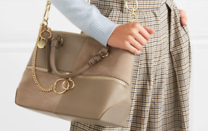 SEE BY CHLOÉ EMY Large Color-Block Leather /Suede Shoulder Satchel Bag MSRP$535