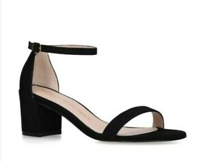 Stuart Weitzman Women's The Simple Black Suede Block Heel Sandals Size US 9