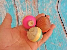 3 Pcs Vintage Desi Toys Lattu Game Painted Wooden Round Spinning Top & Thread 01