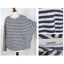 ZARA Ladies Blue Striped Oversized Loose Batwing Sleeve Jumper Sweater Size S