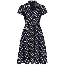 Vintage Retro 1940's Landgirl Navy Polka Dot Belted Shirt Dress New UK 26