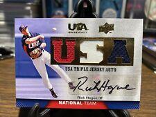 2009 Upper Deck USA Baseball Rick Hague Triple Jersey Auto Red White Blue USA