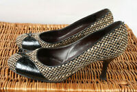Ladies Russell & Bromley London Tweed and Moc-Croc Court Shoes UK 6.5 EU 39.5