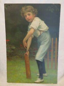 circa 1909 Advertising Board Framed Antique PEARS Lithograph Print BOY CRICKET