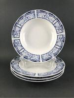Oneida Breton Blue Rimmed Soup Bowls Set of 4
