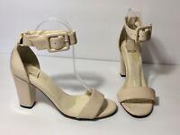 Beyond Skin Nude Beige Vegan Faux Leather Ankle Strap Sandal Heels Size 38 US 8