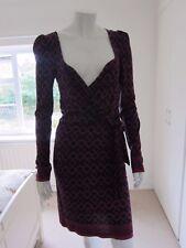 FRENCH CONNECTION Sz 10 Black/maroon Geometric Print Viscose Wrap Dress £90