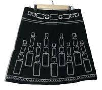 Heart Soul Womens A Line Skirt Black Geometric White Embroidered Knee Juniors 9