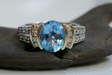 Vintage 14K White & Yellow Gold Blue Topaz with Diamonds Ring Size 7