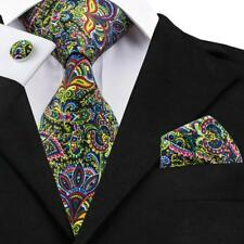 USA Mens Tie Green Yellow Pink Paisley Silk Necktie Jacquard Set Wedding Party