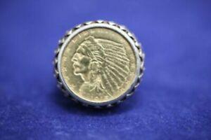 14k Yellow Gold 1915 Indian Head $2.5 Dollar Gold Coin Ring - Sz 6