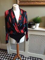ZARA Black Silky Floral Print Shirt Bodysuit Blouse Plunge V Neck Small BNWT