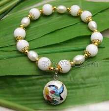 Big 10mm White Round Jade and White Rice Pearl Bracelet & Cloisonne pendant-b395