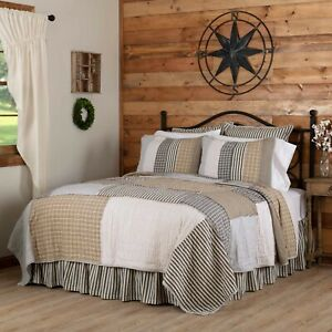 VHC Ashmont Patchwork Grey Tan Blues Country Farmhouse Cotton Reversible Quilt