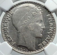 1929 FRANCE w Marianne FRENCH MOTTO Genuine Silver 10 Francs Coin NGC i81973