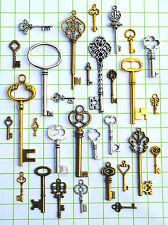 200 Antique Vtg old look skeleton key lot pendant steampunk Diy Craft Charms Ng8