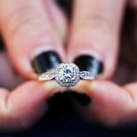 Elegant Women 925 Silver Wedding Engagement Rings White Sapphire Ring Sz 6-10