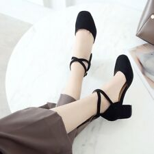 Womens Block Chunky Heels Round Toe Pumps Buckle Sandals Solid Mary Jane Shoes