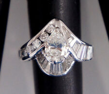 Antique Style Pear Shape Diamond with Round & Baquettes 14k White Gold Ring