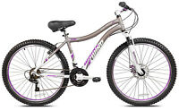 "Women Mountain Bike Gray 26"" Lightweight Front Suspension Disc Brake Shimano"