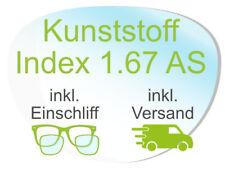 2 Brillengläser inkl. Einschliff/Versand (Kunststoff1,67 AS Super-ET Hart Clean)