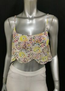 FREE PEOPLE NWT White/Yellow Floral Print Embroidered Crop Top Shirt sz XS