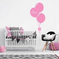 Custom Name Personalise Balloon Baby Girl Bedroom Wall Sticker Nursery Decal
