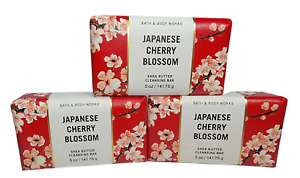 3 Bath & Body Works JAPANESE CHERRY BLOSSOM Shea Butter Cleansing Bar 5oz NEW