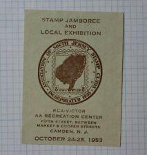 1953 Stamp Jamboree Expo S Jersey Stamp Club Camden Nj Souvenir Label Ad