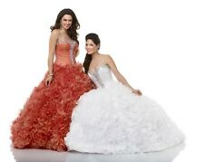 Bonny Bloom Quinceanera XV Sweet 15 Prom Dress Ball Gown 5329 Coral Melon sz 14