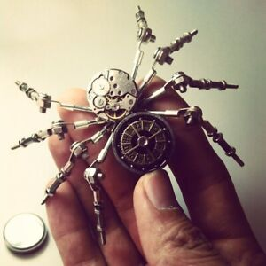 DIY Assemble Model Kit Steampunk Style Metal Spider Model Ornaments Home Office