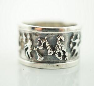 Magischer 925er Silber Ring Sterlingsilber Vintage - Gr 53 Sternzeichen Ring