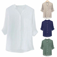 Plus Size Women 3/4Sleeve Button Blouse Plain Tee T Shirt Casual Baggy Beach Top
