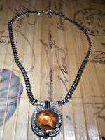 Monet Signed Choker Necklace Amber Crystal Pendant Rhinestones Silver Tone Chain