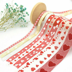 10M Roll Red Heart Valentine's Wedding Party Organza Ribbon Bowknots Decorations