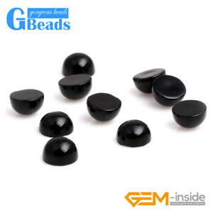Round Oval CAB Cabochon Black Agate Beads for Ring Charm Jewelry Making 5pcs