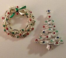 Vintage Silver Tone Gerry's Enamel Christmas Tree & Wreath Brooch Pin Lot