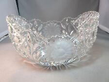 Beautiful HEAVY, SOLID CRYSTAL BOWL Etched Flowers Sawtooth Edge WICKER DESIGN