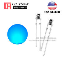 100PCS 5mm Flat Top Water Clear Blue Light Wide Angle 120Deg LED Diodes USA
