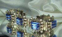 "FARFAN Mexico City Bracelet 1940s STERLING 33.8g COBALT Art Glass Cabs 7"" L FAB!"