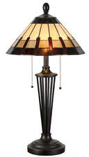 Stained Glass Tiffany Bronze 2 Light Table Lamp