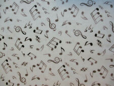 MUSIC INSTRUMENTS BAND ORCHESTRA MUSIC NOTES GOLD THREAD COTTON FABRIC BTHY