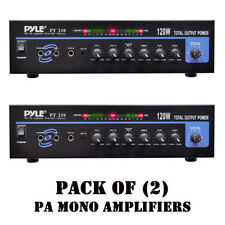 Pack of (2) Pyle PT210 120W MIC PA Mono Amplifiers W/70V Output & Mic Talkover