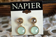 NAPIER Gold-Tone Mint Round Crystal Double Drop Earrings - SIGNED NWT